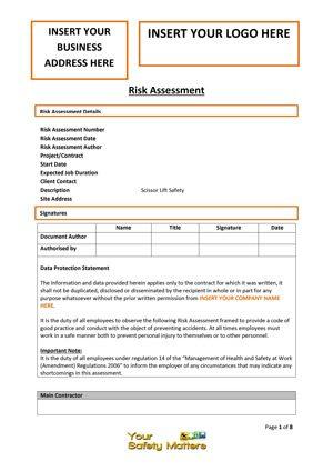 download risk assessement template scissor lift. Black Bedroom Furniture Sets. Home Design Ideas